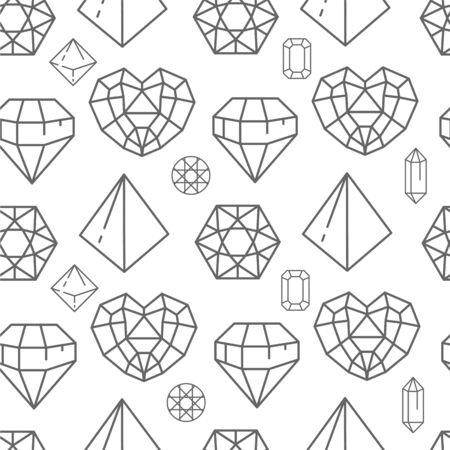 Brilliants and gem stones, crystals line art seamless pattern