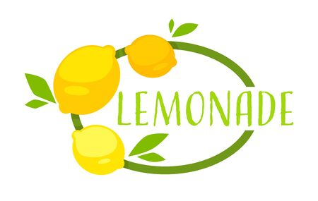 Juicy lemonade drink, organic product for detoxing and dieting. Healthy nutrition with vitamins and minerals. Lemonade beverage emblem, label with inscription and whole fruits, vector in flat style Çizim