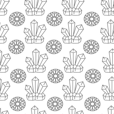 Crystals and jewels with flora, colorless seamless pattern Ilustração