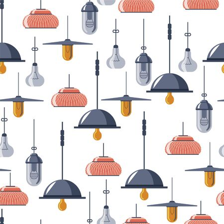 Vintage and retro lamps, light bulbs seamless pattern