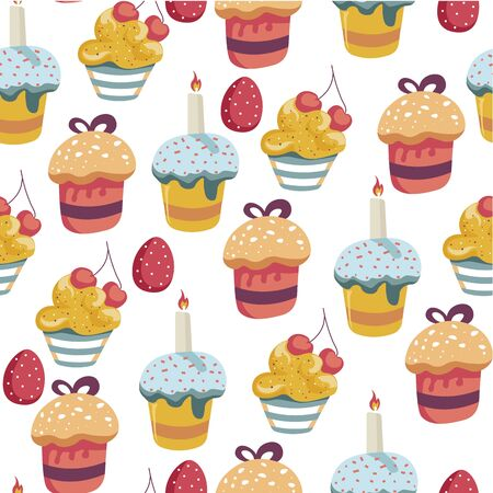 Easter holiday celebration egg and cake seamless pattern