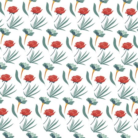 Roses and floristic bouquets, nature foliage seamless pattern