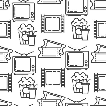 Cinematography and filmmaking industry tickets and snacks seamless pattern Vetores