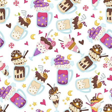 Sweet desserts served in cups, ice creams seamless pattern