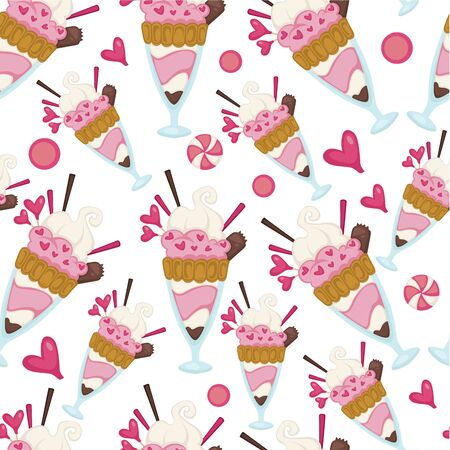 Ice cream dessert made of milk, seamless pattern