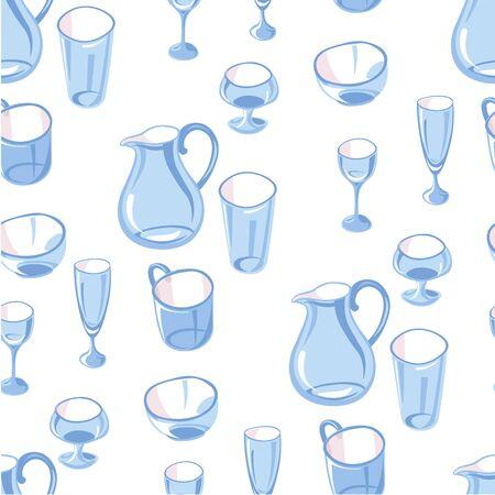 Glassware jug and glasses for beverages seamless pattern Illusztráció