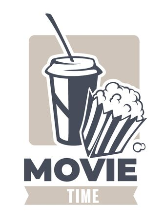 Movie time, popcorn and soft drink snacks banner