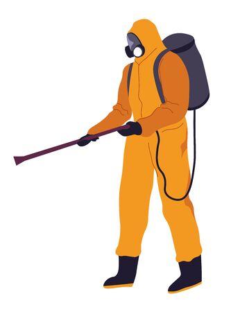 Hazmat costume with spraying tube, backpack and respirator