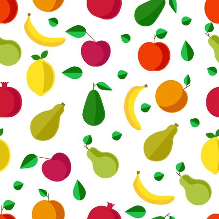 Fruits and vegetables, banana and pear seamless pattern