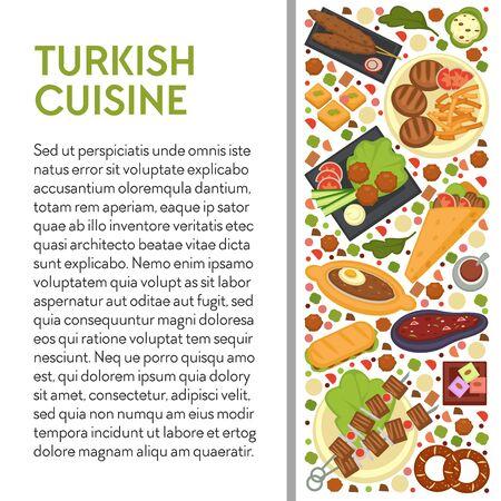 Turkish cuisine template banner with text, restaurant menu