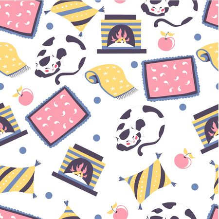 Sleeping cat and blanket, fireplace seamless pattern vector Illustration