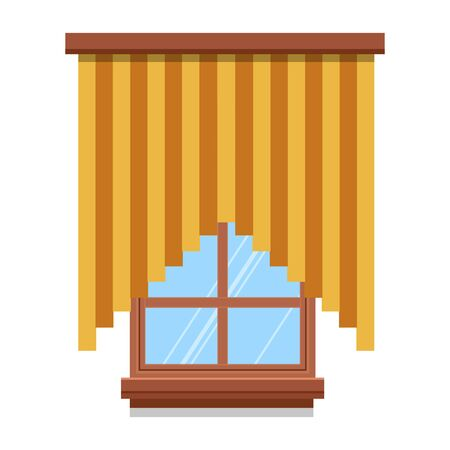 Window with drapes or curtains, interior design vector