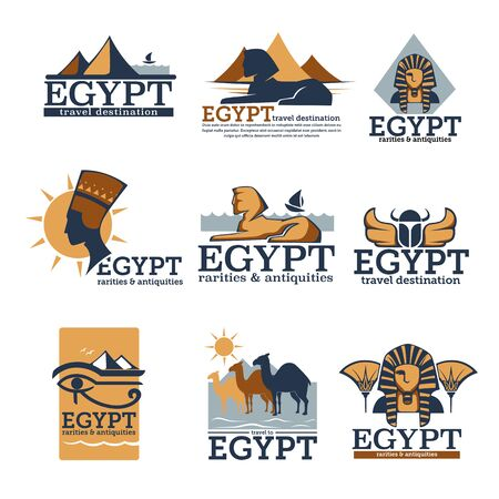 Egypt travel destination and sightseeing banners set vector Иллюстрация