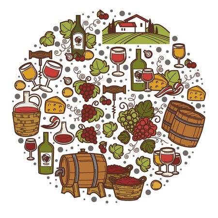 Wine making and tasting, brewery with wooden kegs and bottles with alcoholic beverage. Landscape with rural area and vineyards, cheese accompanying alcohol drink or liqueur. Vector in flat style