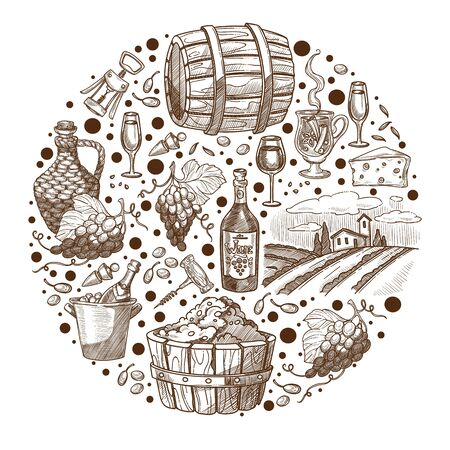 Brewery and production of wine, banner monochrome sketch outline. Keg with fermented beverage, wineglasses and ripe grapes branches, corkscrew and landscape of vineyard. Vector in flat style