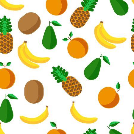 Pineapple and banana, avocado and grapefruit seamless pattern