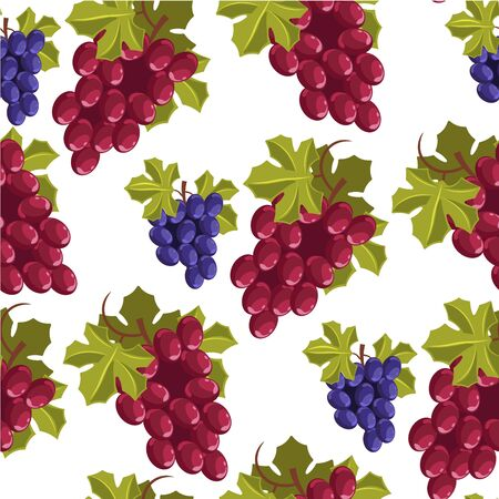Ripe branches of grapes, autumn harvesting seamless pattern