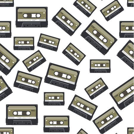 Tapes and cassettes with recorded music seamless pattern Vetores