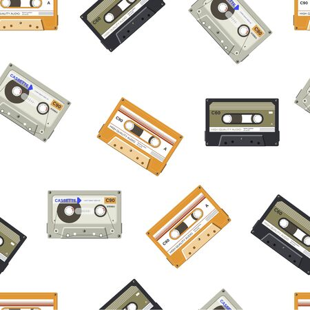 Audio cassette with music and songs seamless pattern