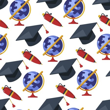 Graduation hat and globe, pen and earth model seamless pattern