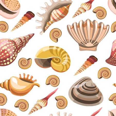 Seashells and sealife, ocean and sea dwellers seamless pattern