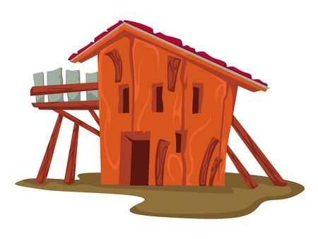 Wooden hut or house, rural building or barn Illustration