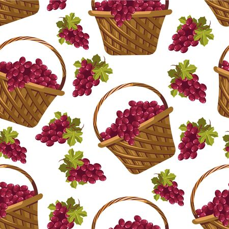 Grapes bunches in woven baskets, fruits seamless pattern Illustration