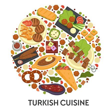Turkish cuisine banner, menu or cook book guide