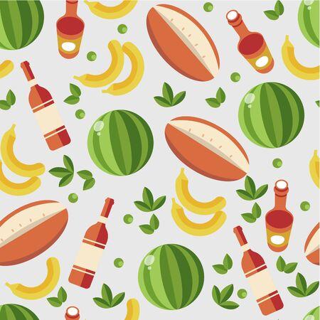 Tropical fruits and liqueur, watermelon and banana seamless pattern Иллюстрация