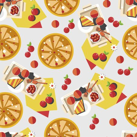 Desserts and sweet dishes, waffles and fruits seamless pattern