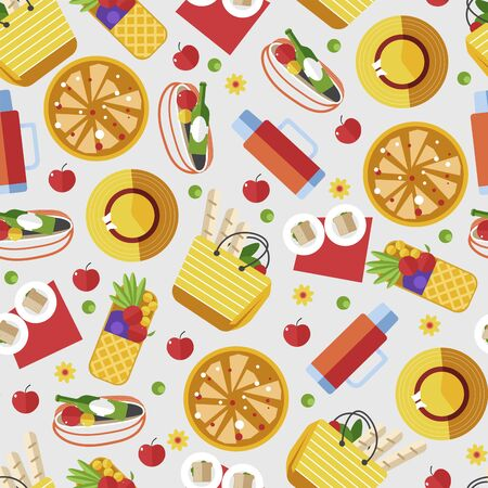 Food and snack for picnic dinner seamless pattern