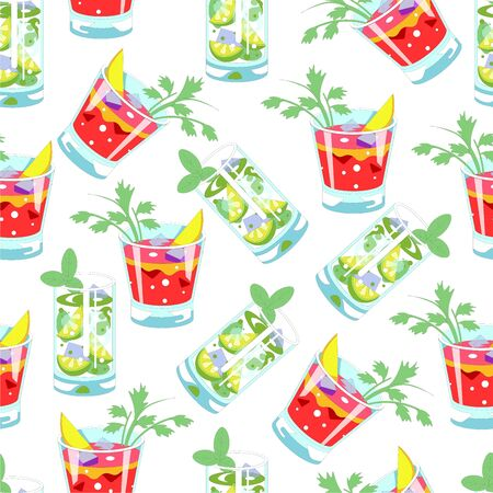 Alcoholic or nonalcoholic cocktails, mojito and cosmopolitan seamless pattern