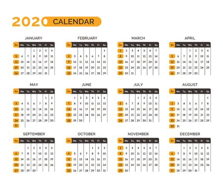 Calendar for 2020 year with months and weeks vector Vettoriali