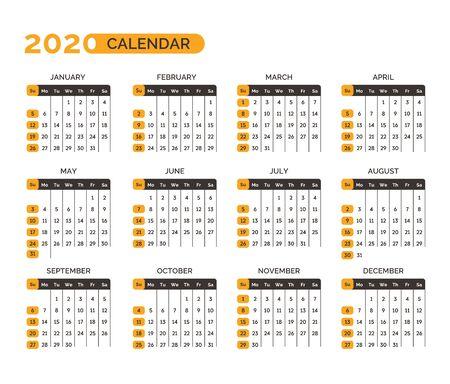Calendar for 2020 year with months and weeks vector Ilustración de vector