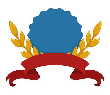 Heraldic shield, banner with laurel leaves and ribbon Иллюстрация