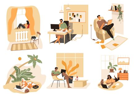 People at home using laptops and modern technologies 向量圖像