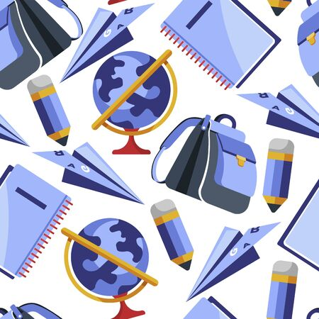 School stationery supplies, notebook and pencils seamless pattern Çizim