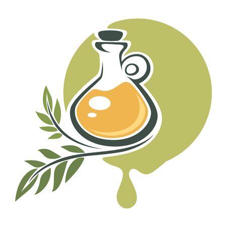 Extra virgin olive oil in bottle, emblem banner Ilustração Vetorial