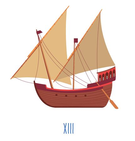 Wooden ship with sails and oars, 13 century boat Vettoriali