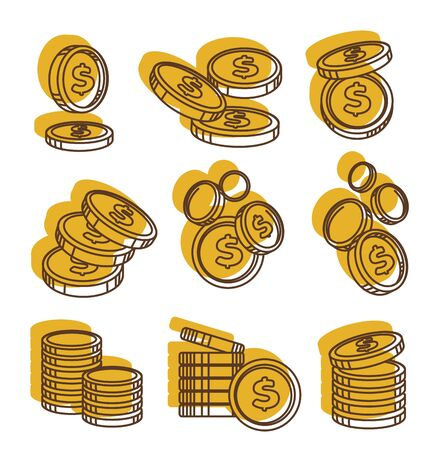 Golden money coins in piles, us dollar currency Illustration