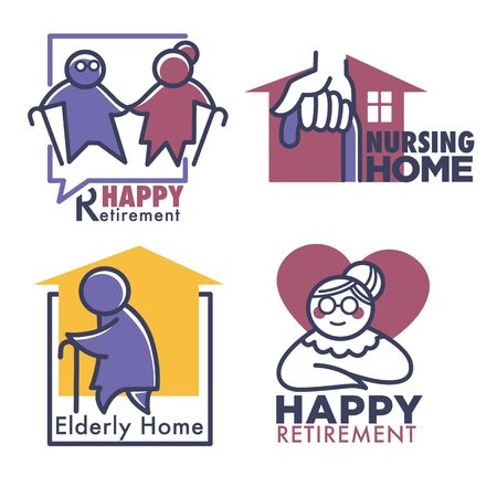 Nursing home for retired people, set of banners Vettoriali