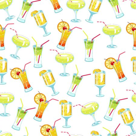 Alcoholic cocktails and beverages with straws seamless pattern