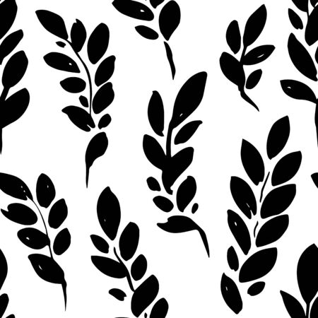 Plant brunches with leaves, seamless pattern decorative silhouette