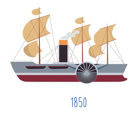 Steam boat with sails and tube with smoke