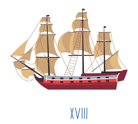 Ship with sails, evolution of naval building vector Stock Illustratie