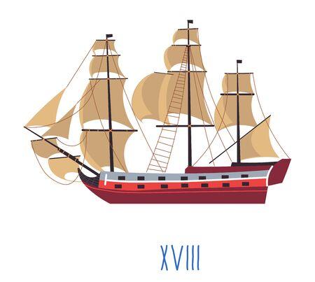 Ship with sails, evolution of naval building vector Illustration