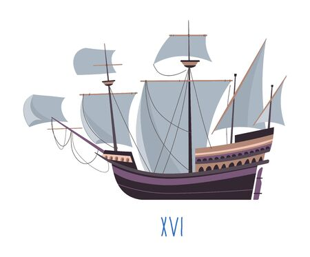 Ship of old times, boat with sails vector