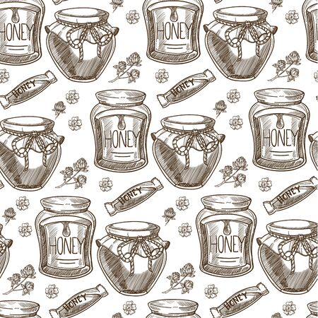 Organic honey, natural product in glass jar seamless pattern