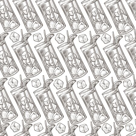 Cocktails in glasses, beverages with slice of fruits seamless pattern