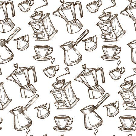 Coffee grinder and machine, turkish pot seamless pattern